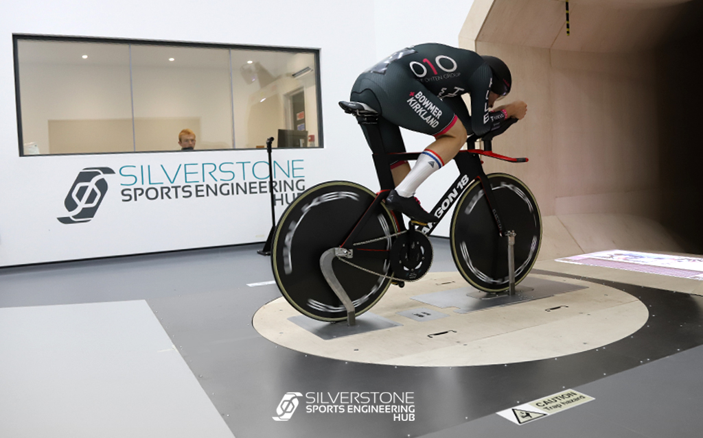 A rider in the Cycling Wind Tunnel