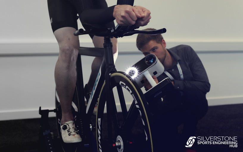 An Artec Leo Scanner scanning a rider on a bike.